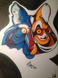 Wolf Tiger :)  #ink #Abstract #art #abstractart Markers, Mario, Disney Characters, Fictional Characters, Wolf, Abstract Art, My Arts, Pencil, Graphic Design