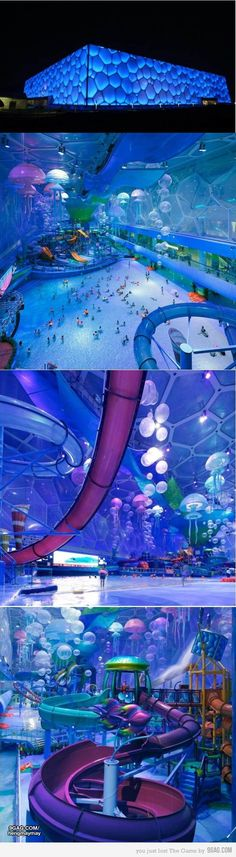 Olympic Aquatic Cube now a water park with slides, rides, a wave pool and spa! Beijing, China