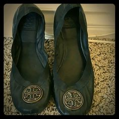 Black Tory Burch flats Black Tory Burch ballet flats. Worn in nicely. Still good condition. Super comfy with stretch band all around. Still have tons of life left! Tory Burch Shoes Flats & Loafers