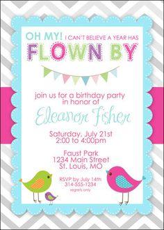little bird birthday invitation