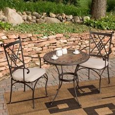 Palazetto Lucca Mosaic Bistro Set - contemporary - patio furniture and outdoor furniture - by Hayneedle