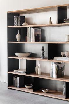 Bronson reclaimed Oak and Industrial Steel – Bücherschrank Steel Bookshelf, Bookshelves Built In, Bookcase Shelves, Shelving, Living Room Built Ins, Home Library Design, Bookshelf Design, Design Studio, Design Design