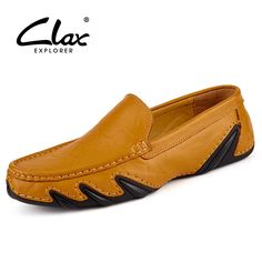 ffb93e96341 Clax Men Leather Flats Shoes 2017 Spring Summer Men s Boat Shoe Black Blue  Casual Loafers Elegant