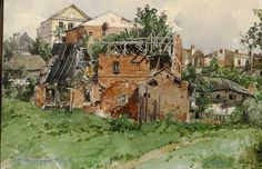 The watercolour Zerschossene Muehle, or Shot Mill, dated 1910  painted by Hitler who was rejected twice by the Academy of Fine Arts in Vienna. ~ too bad he listened to the critics ...