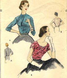 50s Vogue 8532 Sophisticated Drape Front Blouse Sz16 B34 sld 32