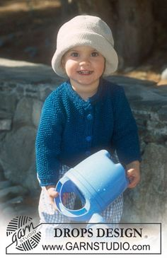 DROPS Jacket in moss st and crochet hat in Muskat ~ DROPS Design
