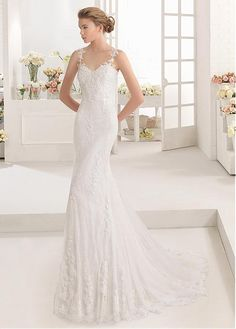 556aee9ef4 Magbridal Chic Tulle   Lace Spaghetti Straps Neckline Natural Waistline  Mermaid Wedding Dress With Beadings