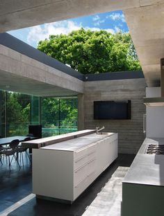 Open roofed kitchen interior