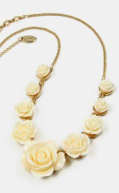 Gold & Ivory Tea Rose Necklace