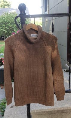 407d12d674c451 classic style with funnel neckline Roll Neck Sweater, Cotton Sweater, Men  Sweater, Mocha