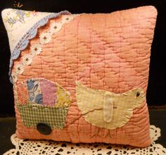 PRIMITIVE Folk Art  Antique Quilt Chick Pillow by AuntNannieCrafts, $15.99
