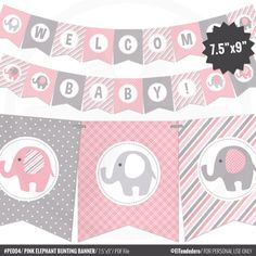 Pink Elephant Baby Shower Banner  Girl Baby Banner  Pink and