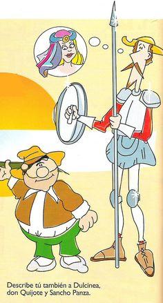 Dibujo que describe a Don Quijote pensando en su Dulcinea, junto a Sancho Panza.