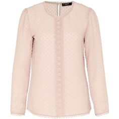 Hallhuber Blouse with embroidered polka dots ($59) ❤ liked on Polyvore featuring tops, blouses, beige, clearance, crop shirt, embroidered blouse, lace crop top, pink polka dot shirt and lace shirt