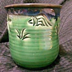 Green-Blue-Pot-Pottery-Crock-Drip-Glaze-Fish-Plant-2007-Zionsville-PA-Bachert