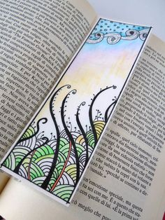 Original Zentangle Art Bookmark, Hand Drawn Zendoodle