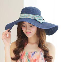 Floral bow floppy straw hat for women UV wide brim design beach hats 30ee810e6a9b