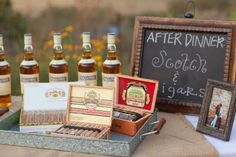 After dinner Scotch bar. Use vintage decanters for added glam.     Rent them at: www.okanaganexecutiveevents.com