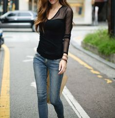 Long Sleeves Solid Color Voile Stitching Plunging Neck Casual T-Shirt For Women (BLACK,ONE SIZE) | Sammydress.com