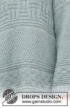 Knitted long jumper in DROPS Air. The piece is worked with textured pattern. Sizes S - XXXL. Drops Design, Jumper, Sweater Cardigan, Men Sweater, Knitting Patterns Free, Free Knitting, Magazine Drops, Point Mousse, Crochet