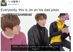 What surprises me that a lot of Korean and English words are similar in meaning and pronounciation wow Jin Dad Jokes, Puns Jokes, Bts And Exo, Bts Jin, Rap Lines, Bts Reactions, I Love Bts, Worldwide Handsome, Bts Pictures