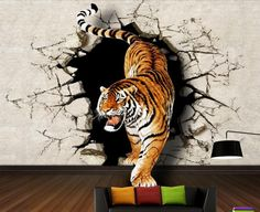 Mural three dimensional wallpaper modern brief sofa bedroom wall wallpaper mural rhino tiger wall murals wallpaper Tiger Wallpaper, Wall Art Wallpaper, 3d Art Drawing, Art Drawings For Kids, 3d Wall Murals, Mural Art, Foto Montages, Oversized Wall Decor, 3d Wall Painting