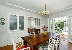 Dining room with original sideboard. 1939 Traditional Style Home in Eagle Rock, Los Angeles with modern and vintage details