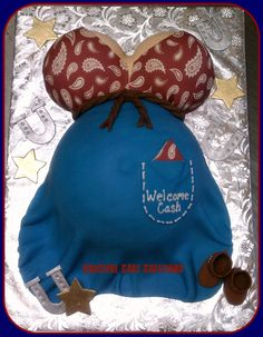 Western Themed Baby Bump Baby Shower Cake