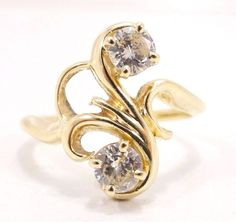 14k Solid Gold Vintage Diamond Ring Stunning Sparkle 1/2+ Carat Free Shipping e