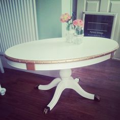 Cream and gold painted vintage coffee table By pumkinvintage