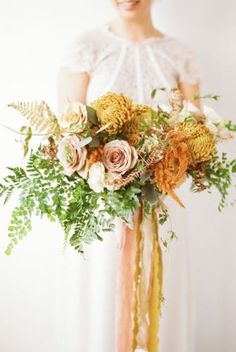 wedding flowers---blush and yellow bridal bouquets with greenery additions to create a garden wedding in autumn Blush Wedding Flowers, Fall Wedding Colors, Floral Wedding, Wedding Bouquets, Yellow Wedding, Yellow Bouquets, Fall Bouquets, Floral Bouquets, Bouquet Flowers