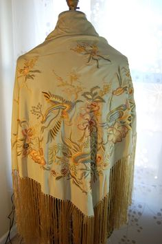 """Vintage  Embroidered Silk Piano Shawl Wrap Beige 45"""" Square AMAZING COLORS. I HAVE THIS ON A TABLE IN MY BEDROOM."""