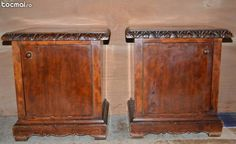 Set 2 noptiere din lemn masiv cu detalii sculptate manual