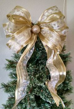 Gold Christmas Bow  Christmas Tree Topper Bow  by BasketsFromAtoZ