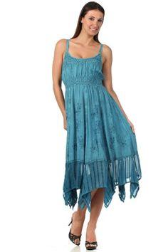 Sakkas 1011 Stonewashed Empire Waist Simple Floral Striped Crepe Handkerchief Hem Dress - Blue - One Size Sakkas,http://www.amazon.com/dp/B00CDZN854/ref=cm_sw_r_pi_dp_Y7vDtb04EE601BJ1