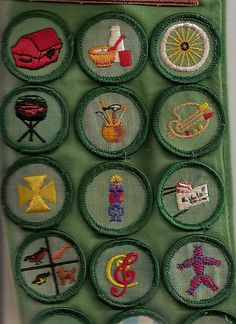 Girl Scout badges (looks like my sash! Collector, Cook, Cyclist, Outdoor Cook, Dabbler, Artist, Health, Folklore, Pen Pal, Pets, Music, Toymaker - what great memories - dw)