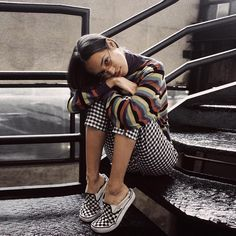 2dbc4c440b21 Checkered Vans Mixed Print Outfit Checkered Vans Outfit