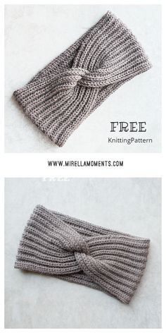 How to knit a headband in English rib with a twist Knitting Stitches, Free Knitting, Free Crochet, Knit Crochet, Beanie Knitting Patterns Free, Knitted Headband Free Pattern, Crochet Headbands, Baby Headbands, Quick Knits