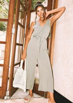 18a11067b3 Missyempire - Sage Khaki Button Culotte Jumpsuit Belt Tying