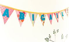 Personalized Fabric Banner, Baby Shower Bunting, Nursery Name Banner, BIrthday Party Garland, Pink,Teal