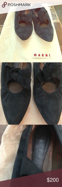 Marni suede flats EUC. Marni suede flats. Made in Italy. Maryjane style. Elastic bow decorated and elastic back of shoe. Fits true to size. Dark teal in color. Dust bag included. *no trades* Marni Shoes Flats & Loafers