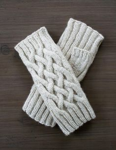 Traveling cable hand-warmers with excellent directions - free pattern by The Purl Bee