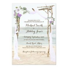 Beach Wedding Photos Beach Arbor Lavender Wedding Invitations - invitations personalize custom special event invitation idea style party card cards - Beach Arbor Lavender Wedding Invitations Part of the Beach Arbor Lavender Wedding Collection Wedding Invitation Video, Beach Theme Wedding Invitations, Beach Wedding Reception, Beach Wedding Photos, Beach Wedding Decorations, Custom Invitations, Wedding Day, Invites, Wedding Sets