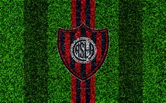 Download wallpapers CA San Lorenzo de Almagro, 4k, football lawn, logo, Argentinian football club, grass texture, blue red lines, Superliga, Buenos Aires, Argentina, football, Argentine Primera Division, Superleague, San Lorenzo FC