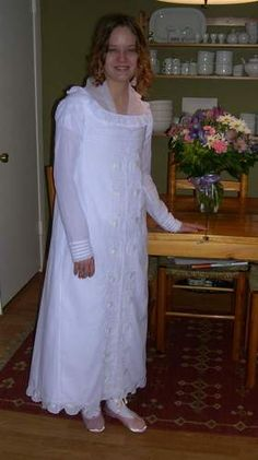 An Embroidered Regency Dress with a Pink Silk Spencer. Dress with fichu. http://www.koshka-the-cat.com/dress_and_spencer.html