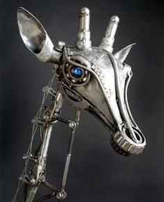 Sublime Steampunk Art: Metal Moving-Parts Mech Giraffe