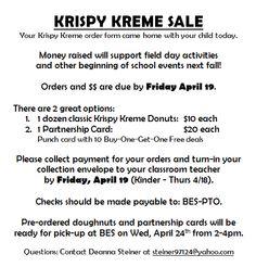 krispy kreme fundraiser flyer for weekly donuts | PTA Fundraising ...