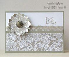 Lace stamp and flower for wedding card Homemade Greeting Cards, Homemade Cards, Wedding Anniversary Cards, Wedding Cards, Paper Cards, Diy Cards, Potpourri, Karten Diy, Stampinup