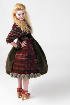Emily Platt, UK design student. Dress from her Twisted Traditions collection. Inspired by the traditional dress from around the world. Her aim is to design unique knit wear to awaken interest in hand knitting.