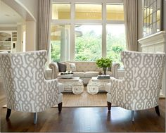 I love these high back chairs with a great print! And I am noticing more clients using the pattern on the back and sides only and an accent pillow, and keeping the inside front all solid. Its an updated look! Quatrine.com